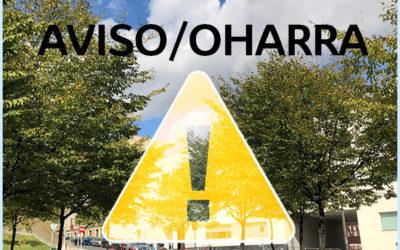 Periodo de suspensión temporal de la actividad escolar en Harrobia