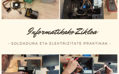 Informatikako ikasleak soldadura eta elektrizitate praktikekin